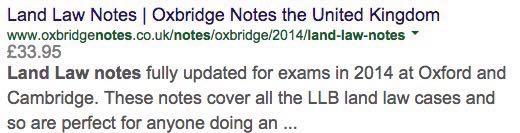*The Google Search preview snippet for one of Oxbridge Notes' landing pages*